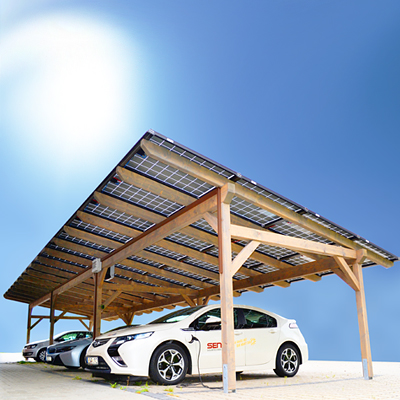 SOL-50 Solarcarport 3x Parking-10.8 KWp- JAM6-300-Black