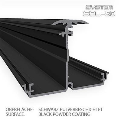 SOL-50 Premium XXL-Horizontalprofil 2m schwarz